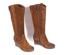 25S OXMOX Damen Stiefel Boots Velours Leder braun Gr. 39 Keilabsatz Wedge Boho