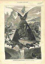Fishing Hunting Peche Chasse Norway Fjord GRAVURE ANTIQUE PRINT 1883