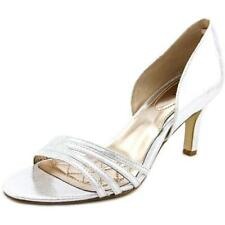 Zapatos de tacón de mujer de tacón alto (más que 7,5 cm) de color principal plata de lona