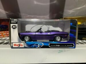 1970 DODGE CHALLENGER R/T CONVERTIBLE 1:24 PURPLE/BLACK MAISTO   #533307