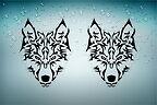 2x Adesivi adesivo sticker moto auto biker tribale tuning teschio lupo wolf r21