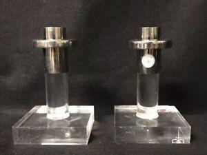 Dorthy Thorpe Lucite Candlesticks Pair Label (One as Found) Mid Century Modern