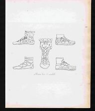 Roman Soldier Footwear - Boots - Sandals - 1809 Copper Plate Engraving
