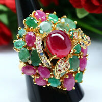 NATURAL 10X11mm. RED RUBY, EMERALD & SAPPHIRE STERLING 925 SILVER RING 14K GP