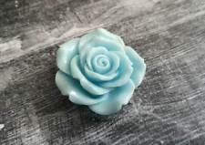 Large Flower Cabochon Flatback Mint Blue Rose Resin Flower 45mm Big Flatback