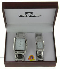 Mark Naimer His & Hers Chrome Finish Watch Gift Set - Brand New in Box