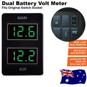 GREEN Dual Battery Volt Meter for Toyota Prado 150 Landcruiser 200 Hilux 2015 ON