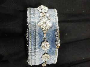 Denim Cuff Bracelet Upcycled materials with rhinestone pendant inv505