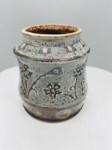 Beautiful Studio Pottery Glazed Blue Floral Vase Utensil Pot Planter