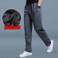 Men Fleece Lining Casual  Sweat Pants Thicken Straight Leg Trousers Winter Warm
