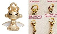 3D Charms Angel Gold Silver Charm For Bracelet Traditional Dangle Clasp Lobster