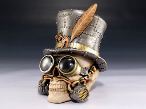 Steampunk Skull High Hat Figurine Statue Skeleton Halloween