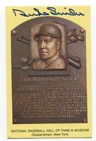 Duke Snider Signed Gold HOF Plaque Baseball Hall of Fame Autographed Postcard