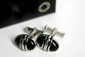 MONTBLANC MEISTERSTÜCK SOLITAIRE OVAL CUFFLINKS PLATINUM PLATED WITH ONYX INLAY