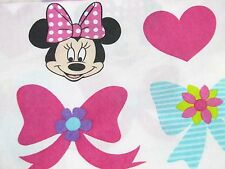 Disney Minnie Mouse Vintage Twin Flat Fitted Sheet Pink Hearts Bows Fabric Craft
