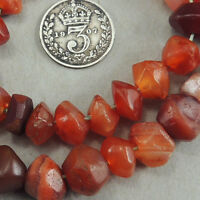 12 inch 25.5cm strand old hand faceted african stone agate beads mali #4087