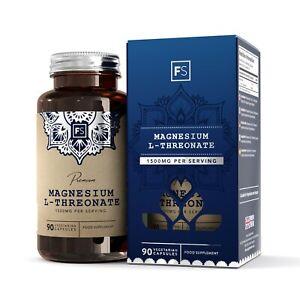 FS Magnesium L-Threonate | 90 1500mg Threonate Capsules | Made in the UK