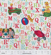 Dick and Jane ABCs WHITE Alphabet Letters OOP Fabric By the FQ - 1/4 YD