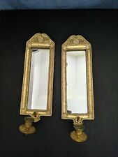 Pair Gold Mirror Wall Sconce Candle Holders Korea 1996