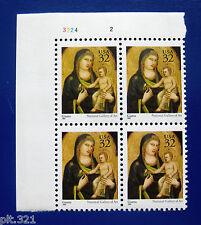 Sc # 3003 ~ Plate # Block ~ 32 cent Madonna & Child, by Giotto di Bondone Issue