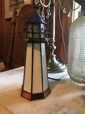"9"" Retro Tiffany Style Stained Glass Lighthouse Lamp Nautical Decor Night Light"