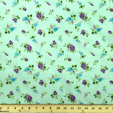 Delilah Green Print Fabric Cotton Polyester Broadcloth By The Yard 60""