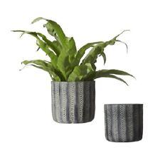 Wikholm Ida Concrete Black Decorative Planter Pot Set of 2 14cm and 11cm