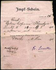 altes Dokument, Impf-Schein, 1908