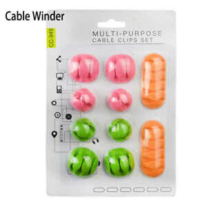 10 Pcs Colorful Cable Management Holder Use For Home Cars Office Nightstand Gift