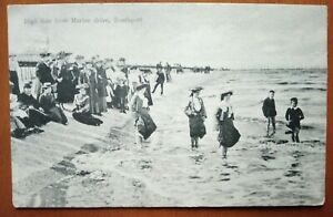 HIGH TIDE FROM MARINE DRIVE, SOUTHPORT EDWARDIAN VINTAGE POSTCARD