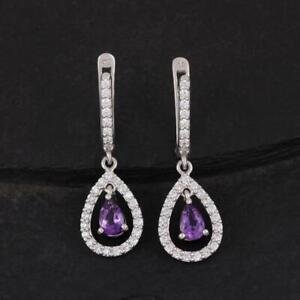 Amethyst & Diamond 2.97 Ct 14k White Gold Over Clip-on Drop Dangle Earrings