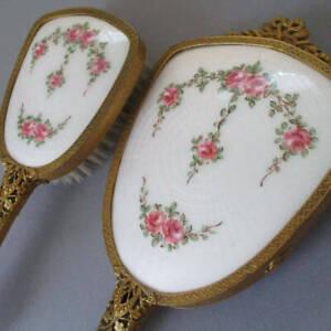 Vintage GILT Brass FILIGREE Hand MIRROR w BOW + Brush HP Guilloche Enamel ROSES