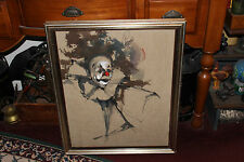 Clown Painting On Fabric-Signed Rogers-Unusual Clown Artwork-Large & Framed