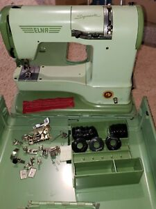 Vintage Elna Supermatic Portable Sewing Machine 722010, 15 Stitch Cams and more