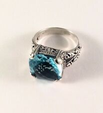 Sterling Silver Square Cushion Cut Blue Topaz Filigree Size 7 Ring R092601