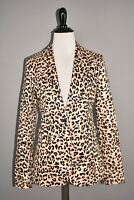 1901 NEW $149 Preppy Twill One Button Structured Blazer Leopard Print Size 2