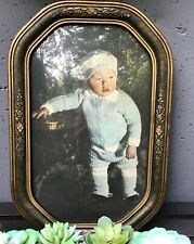 Beautiful Vintage Picture Frame with Photo and Bubble Glass 17 3/4 x 11 3/4 Inch