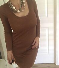WITCHERY WOMENS DRESS KNIT WOOL SHORT BODYCON Brown Sz XXS