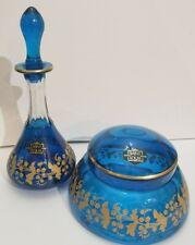Saint St Louis Crystal Blue Gold Encrusted Vanity Dresser Jar & Perfume Bottle