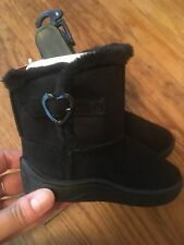Garanimals Infant Girls Black Fur Boots Heart Buckle Shoes Size 5 NEW