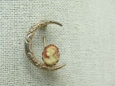 """Vintage Cameo Moon Brooch, Victorian Themed, Gold Tone, 1-1/8"""""""