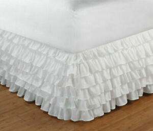 Egyptian Cotton 1 PC Multi Ruffle Bed Skirt 1000 TC Full XL Size & Solid Colors