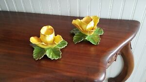 Yellow Rose Flower Ceramic Candlestick Holders Tapered Candle Holder Japan