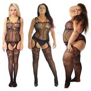 Genuine UK Size 8-24 Body Stockings Bodysuit Nightie Fishnet Sexy Underwear BBW