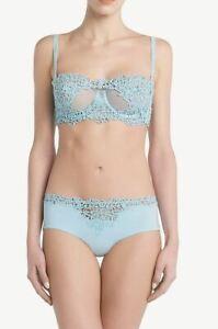La Perla Petit Macrame Underwire Bra Shorty Panty 34B M Light Blue $934