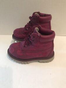 "Timberland Little Kids' 6"" PREMIUM WATERPROOF BOOTS Size 7 Burgundy Canvas"