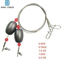 Fishing Wire Leader Line Ready Egg Rig Weights Lead Sinker Swivels Snaps Rigging
