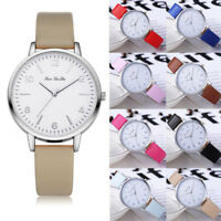 Womens Ladies Fashion Faux Leather Band Analog Quartz Round Wrist Watch Watches
