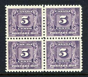 CANADA Scott J9 - DG - BLK of 4 - 5¢ Dark Violet 2nd Issue Postage Due (.010)