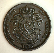 1870 Copper Belgium 1 Centimes Coin Currency XF